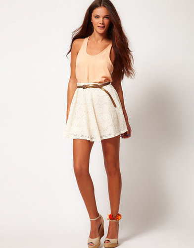 This lightweight lace skater skirt was made to show off your stems.  River Island Lace Skater Skirt ($27)
