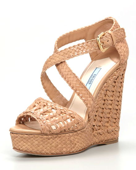 This wedge is comfortable enough to go double duty, from shows to dinner afterward.  Prada Woven Wedge Sandals ($427, originally $950)