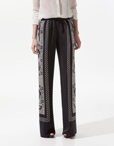 The idea of putting denim or even cotton trousers on can feel like a daunting task if the mercury's pushing 90, but these silky pajama-inspired pants are the solution to your sticky-weather problems.  Zara Printed Trousers ($90)