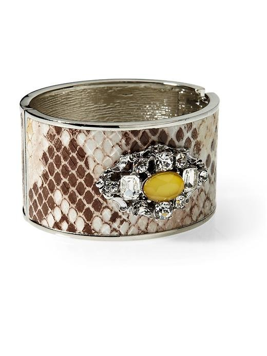 A bit of glam you don't even have to think about.  Tinley Road Snake Print Jeweled Cuff ($40)