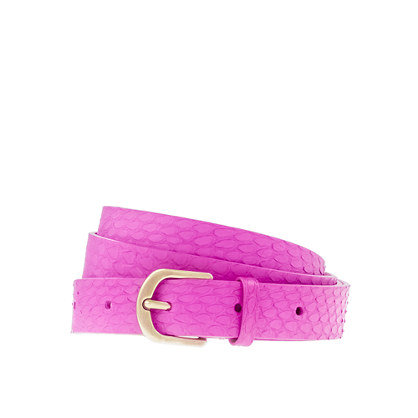 It's just a little piece, but the punchy fuchsia has some potency that could liven up your work look in a snap.  J.Crew Snakeskin Belt ($45)