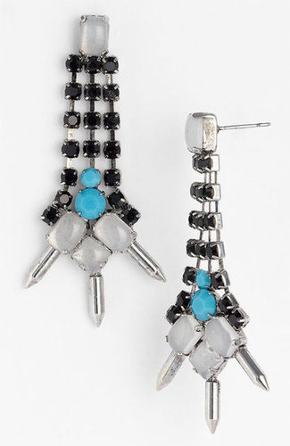 Give even a white t-shirt edge with these high-wattage add-ons.  Sweet Scandal Spiked Drop Earrings ($48)
