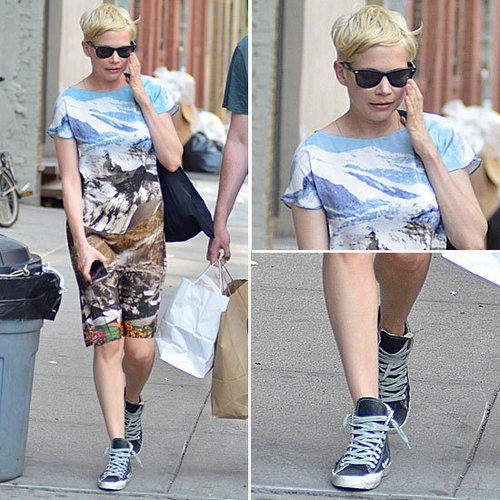 Michelle Williams Makes Her Photo-Print Dress Even Cooler With Sneakers