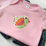 Pink Bodysuit With Bird Appliqué ($13)