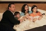 Lenny Venito, Clara Mamet, Jami Gertz, Isabella Cramp, and Max Charles on The Neighbors.