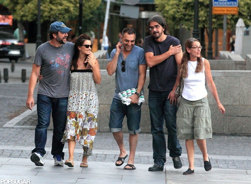 Javier Bardem and Penelope Cruz laughed with their friends.