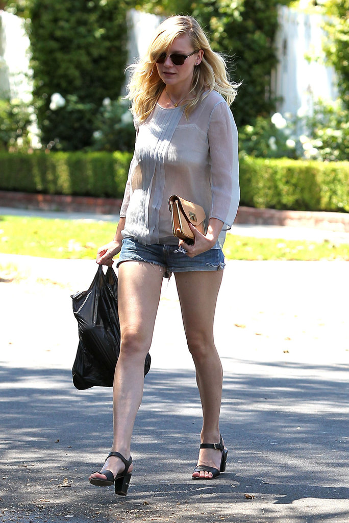 Kirsten Dunst showed off her legs in a pair of jean shorts.