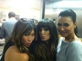 Lea Michele hung out with her Glee castmates Jenna Ushkowitz and Naya Rivera at Comic-Con. Source: Twitter user msleamichele