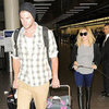Liam Hemsworth and Miley Cyrus With Dog at LAX