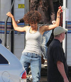 Halle Berry on the set of The Hive before an injury.