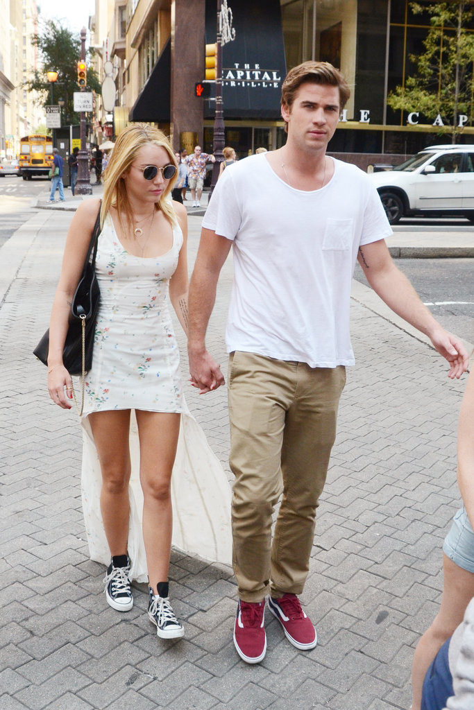 Miley Cyrus and Liam Hemsworth left The Capital Grille.
