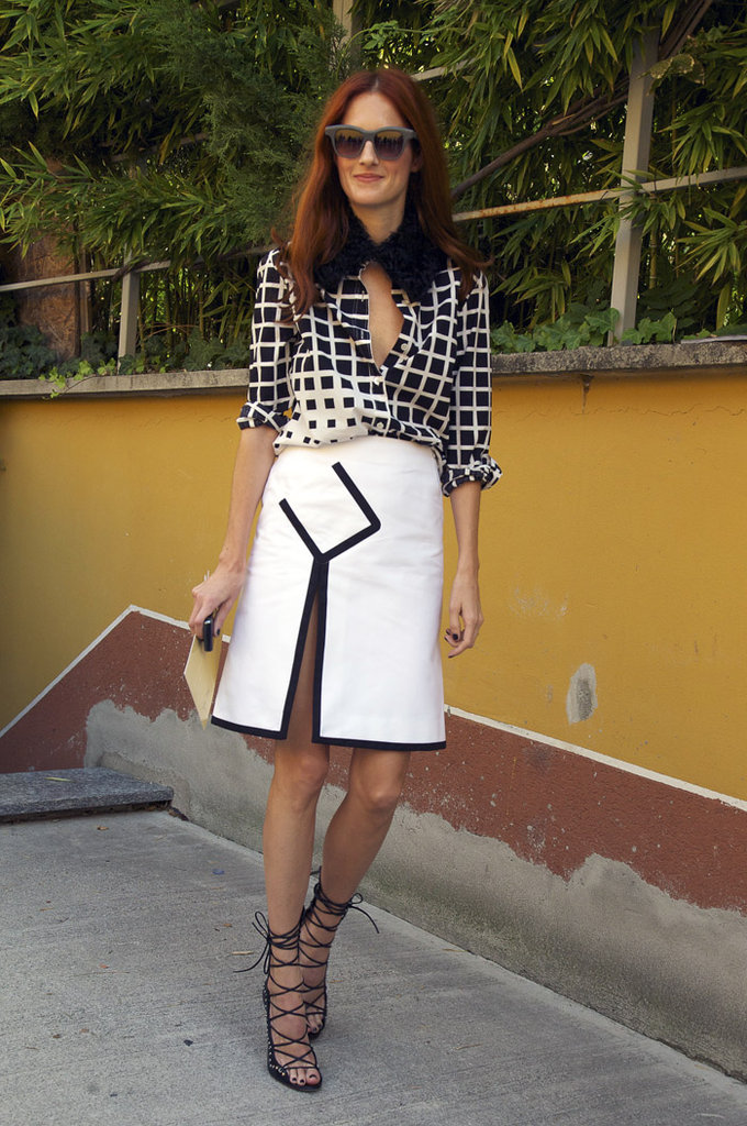 Taylor Tomasi Hill shows us how to indulge in the starkest kind of contrasts via sharp cuts, graphic prints, and strong shapes. Photo courtesy of Phil Oh