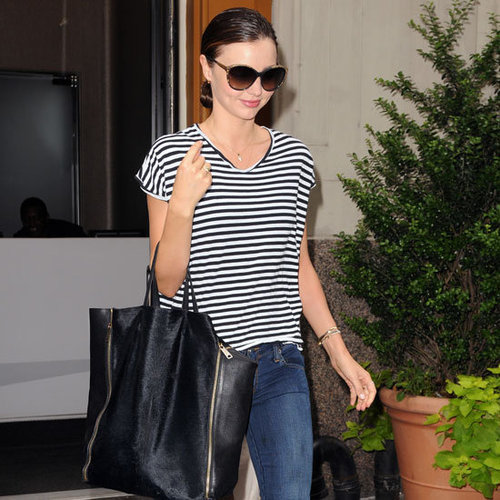 Miranda Kerr Wearing Striped Tee