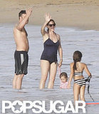 Ben Affleck and Jennifer Garner waved from the water.