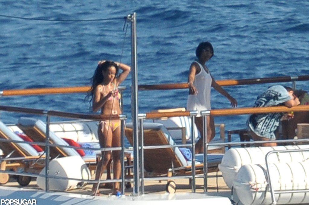 Rihanna relaxed on the Italian Riviera.