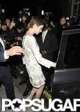 Anne Hathaway stepped into her car.