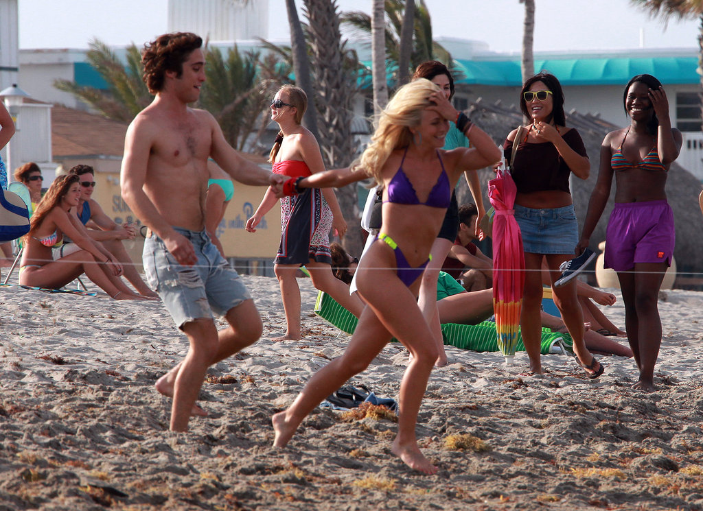 Julianne Hough led Rock of Ages costar Diego Boneta by the hand during a May 2011 shoot in Hollywood, FL.