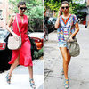 Miranda Kerr Wearing Colorful Printed Balenciaga Sandals