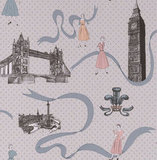 Graham and Brown's Jubilee Wallpaper ($70 per roll) celebrates the iconic fashion of the '50s as well as London sites.