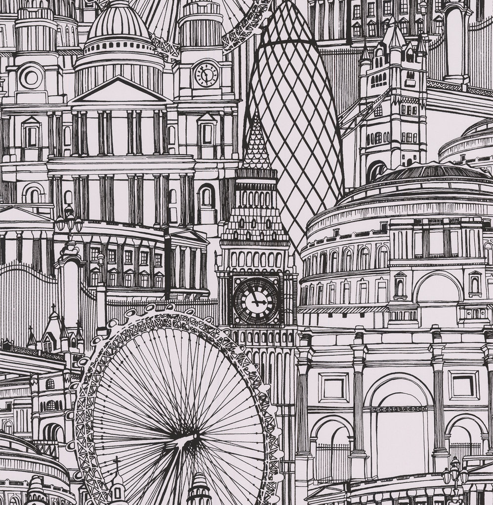 Graham and Brown's Londinium Wallpaper ($70 per roll) provides an illustrated view of the cityscape.
