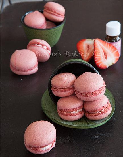 strawberry-blossom macarons