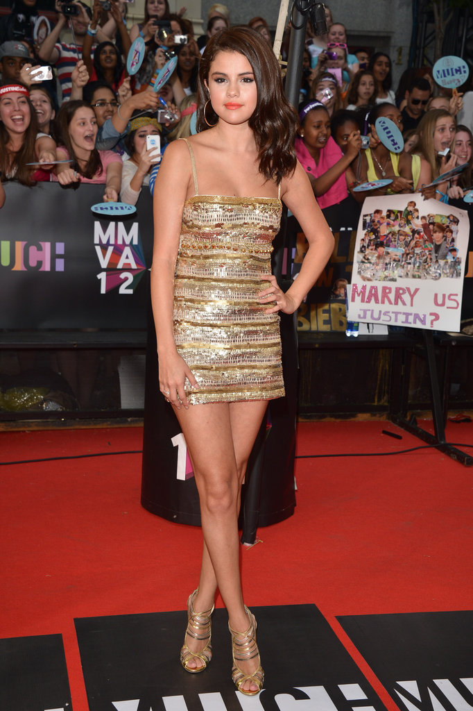 Selena showed off a gold metallic Roberto Cavalli mini at the MuchMusic Video Awards in 2012.