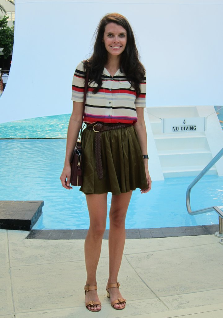 Summer stripes paired with a silky skirt and Chloé bag.
