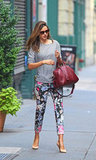 It's official: Miranda Kerr has the most enviable of wardrobes. Here she played off floral trousers effortlessly with a sweatshirt-style top and pumps.