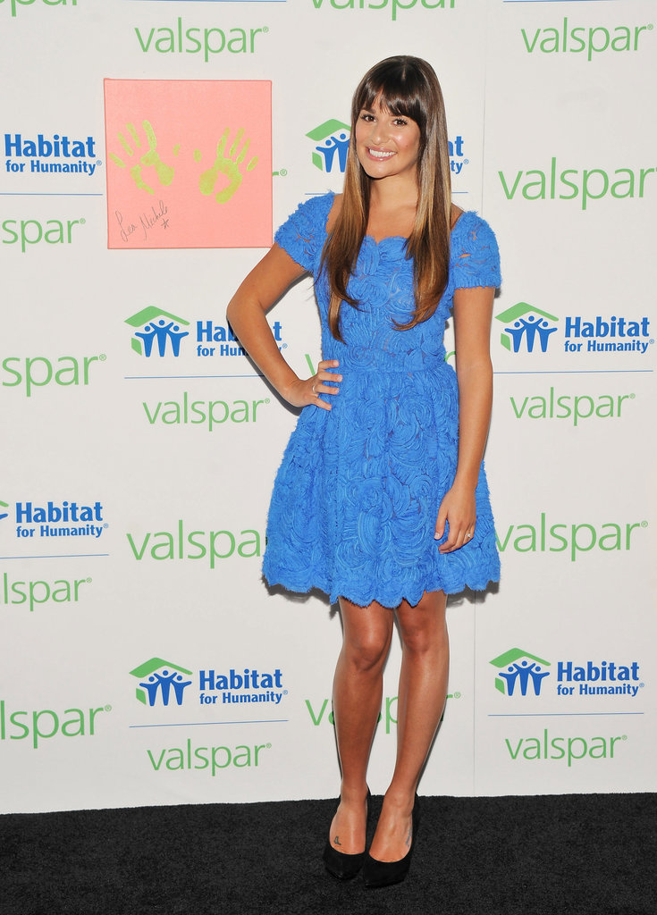 Lea Michele posed pretty in a brilliant blue fit-and-flare dress.