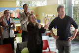 Julie White, Seth Morris, Sarah Baker, and Matthew Perry in Go On. Photo courtesy of NBC