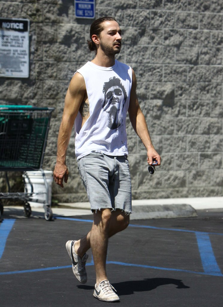 Shia LaBeouf rocked denim shorts.