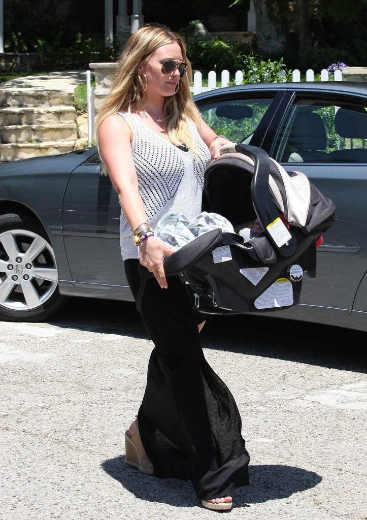 Hilary Duff carried Luca in his carrier.