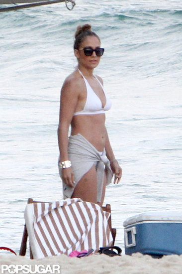 Jennifer Lopez wore a white suit on the beach in Rio de Janiero in June 2012.