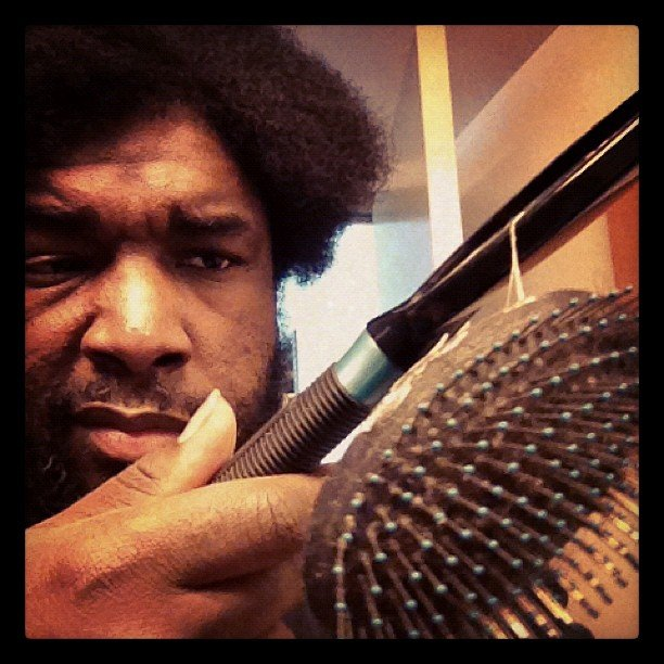 "Questlove posed this photo after destroying ""the Samsonite of brushes."" Source: Instagram user questlove"