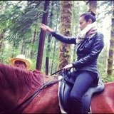 Jamie Chung rode a horse through the woods. Source: Instagram user jjchung415