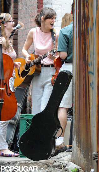 Keira Knightley seemed to be enjoying her time on the set of Can a Song Save Your Life?  in NYC.