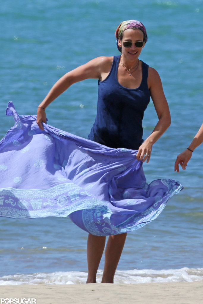 Julia Roberts hit the beach in Hawaii.