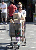 Hilary Duff left a grocery store in LA.