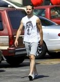 Shia LaBeouf beat the heat in a cutoff t-shirt.