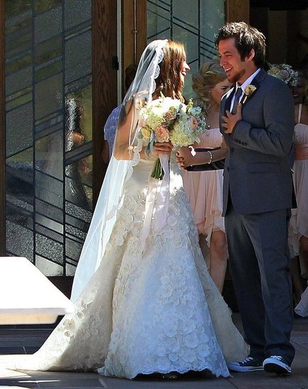 Lee DeWyze and his wife laughed on their wedding day.