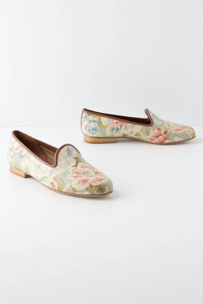 Crisp cotton loafers in a sweet vintage floral print. Zalo Floral Jacquard Loafers ($168)