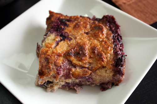 This baked blueberry oatmeal pudding is a divine combo of cobbler and bread pudding. While it's no doubt delicious on its own, it pairs amazingly with a scoop of vanilla bean ice cream.