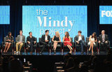 The Mindy Project's Mindy Kaling joined executive producer Matt Warburton and actors Chris Messina, Ed Weeks, Anna Camp, Zoe Jarman, Ike Barinholtz, Amanda Setton, and Stephen Tobolowsky on stage during FOX's TCA press tour.