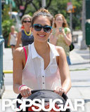 Jessica Alba smiled big in NYC.
