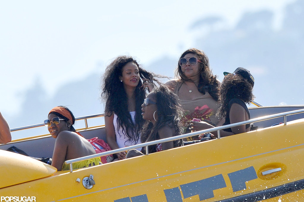 Rihanna went out on a boat with friends.