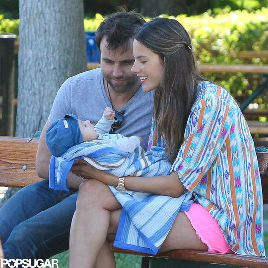 Alessandra Ambrosio Cradles Baby Noah During a Sweet Park Day