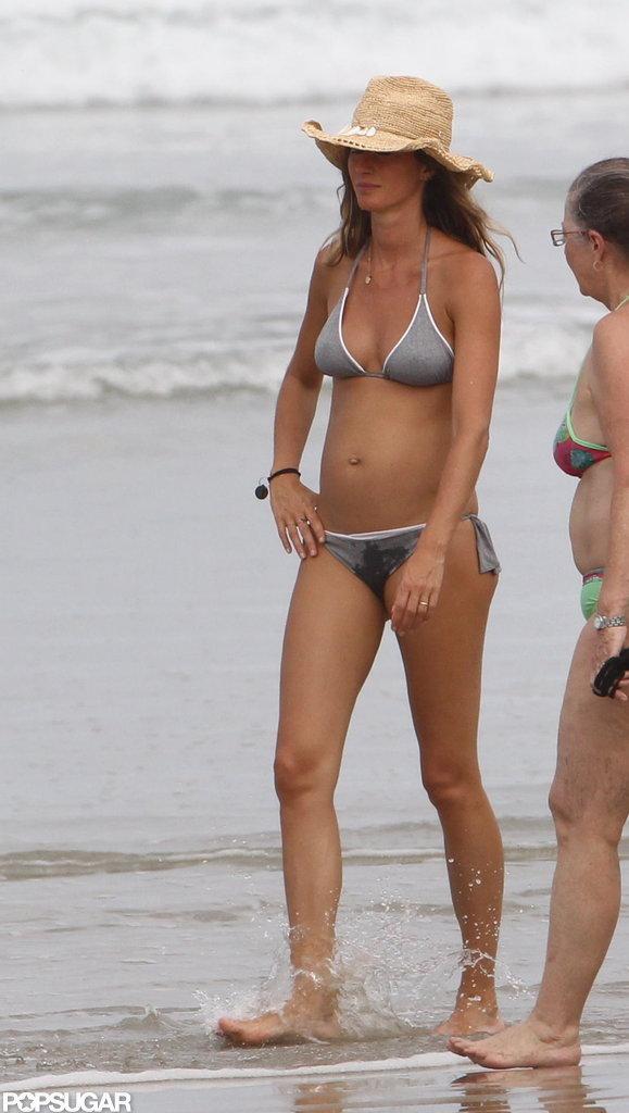 Gisele Bundchen wore a gray bikini.