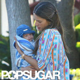 Alessandra Ambrosio cuddled Noah close.