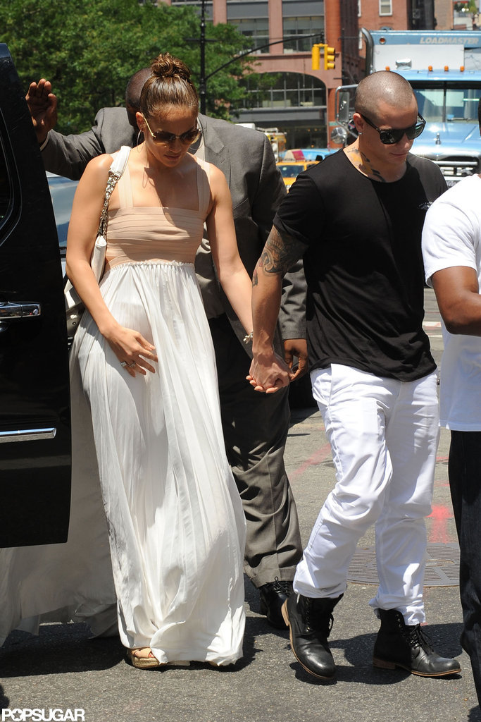 Jennifer Lopez got out of a car with Casper Smart on her birthday.
