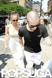 Jennifer Lopez wore a maxi dress to lunch with Casper Smart.